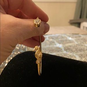 Seahorse And Crystal Goldtone Cuff